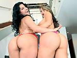bigtitsroundasses: Two pretty Latinas with big natural tits get fucked