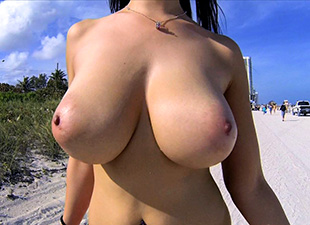 Hot Latina with big tits naked outdoors